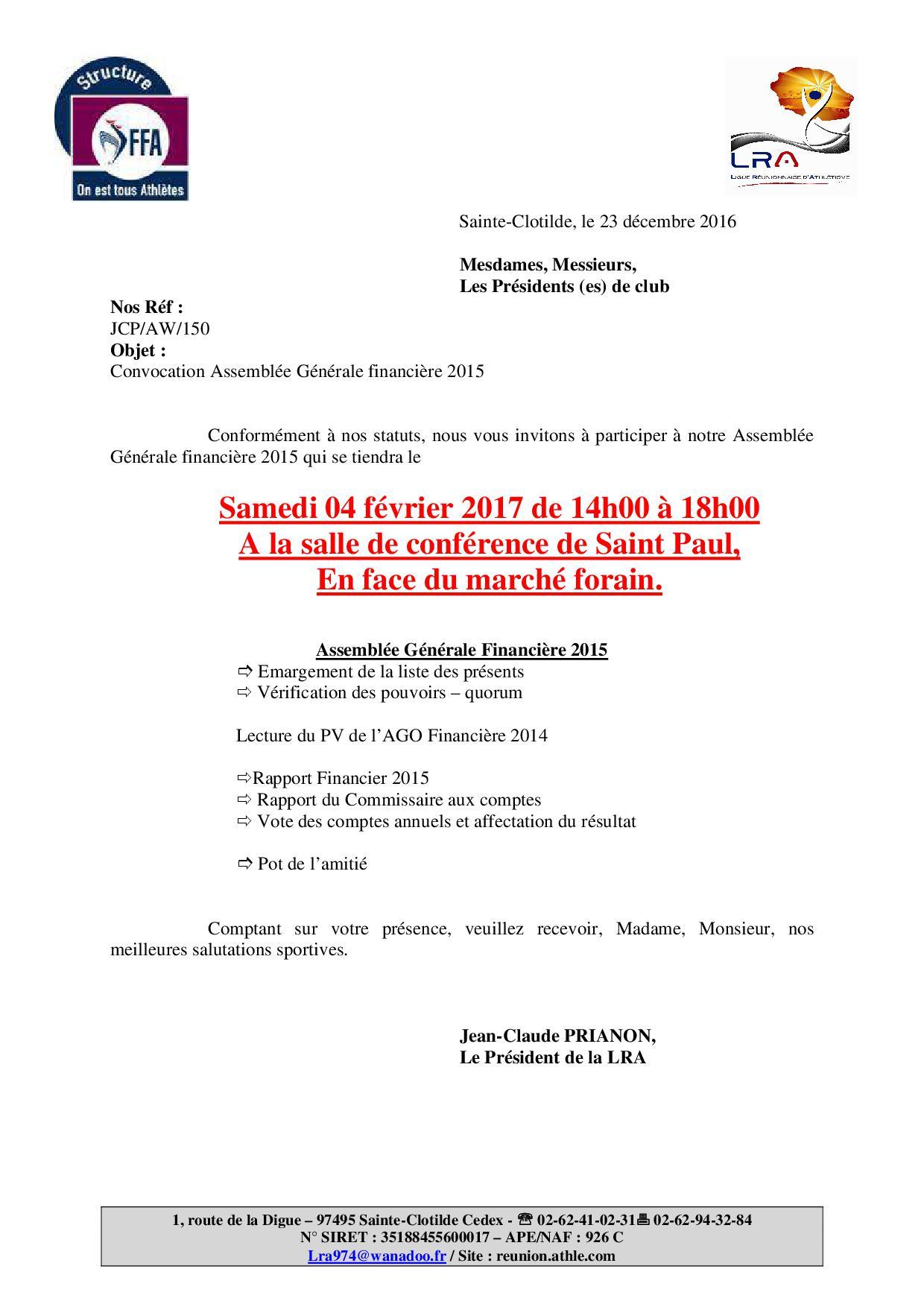 Assemblée Financière 04/02/2017